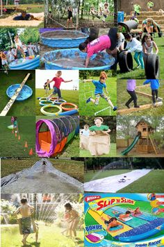 OBSTACLE COURSE/WARRIOR RACE: Make it as grand or as small as you want using every day items you can find around the house! String/Rope, Kiddie Pools, Hay Blocks, Tubes, Tires, Rings, Boards, Cones, Sacks/Pillow Cases, TreeHouse/Swing Set, Plastic Sheeting/Slip and Slide, & your Sprinkler! Keep it age-appropriate. If you have a small yard, have them go to the end and: Collect a Flag, Save the Princess (doll), or Indiana Jones artifact, etc and return thru the course to the beginning!