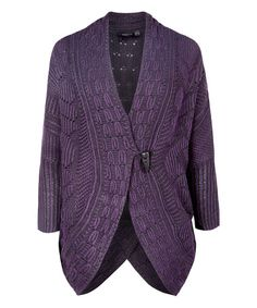 Another great find on #zulily! Plum & Black Jacquard Cardigan by Dex #zulilyfinds