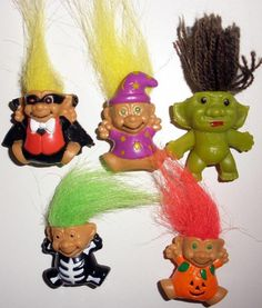 Lot Of 5 Halloween Miniature Troll Vinyl And Plastic Pencil Toppers #Unbranded #Troll