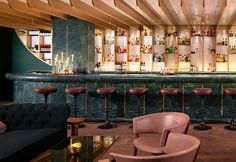 Mondrian Hotel, Southbank, London Dandelyan Cocktail Bar interesting botanical themed menu and stunning Tom Dixon interior
