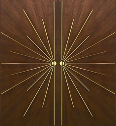 "Ray Double Entry | ""A fabulous door! Made of walnut with inlaid brass, this door is the ultimate in elegance. Referencing the spirit of the Art-Deco movement, it is exceptional yet simple at the same time."""