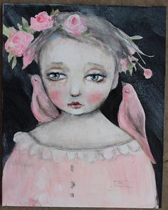 original girl child portrait pink birds primitive by fadedwest, in deep thought....
