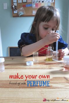 Make your own child-safe perfume with food extracts - a great sensory activity for kids