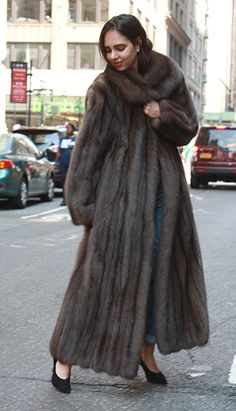 Vintage Furcoats Full Length Russian Sable Fur Coat - This Magnificent Full Length Russian Sable Coat is so light weight and beautiful, a must have for your fur collection. Sable Fur Coat, Long Fur Coat, Fur Coats, Leather Coats, Coats For Women, Clothes For Women, Fabulous Furs, 20th Century Fashion, Fur Fashion