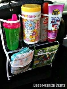 Dollar store shoe organizer- love this idea for my vehicle