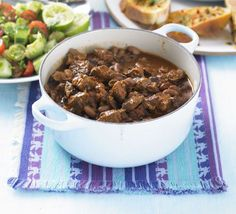 Mexican beef chilli A delicious one-pot of spicy braised beef is a great, stress-free way to fill up a hungry crowd Chilli Recipes, Beef Recipes, Cooking Recipes, Slow Cooking, Bbc Good Food Recipes, Mexican Food Recipes, Campfire Food, Campfire Recipes, Kitchens