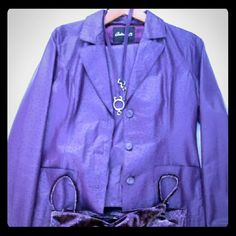 Ladies purple ostrich leather jacket pant suit m In excellent condition by Arden B this Ladies beautiful purple ostrich leather suit with Paisley velvet spaghetti tank and hip belt. fun color can be dressed up or down and either way you wish to go with that,  the ostrich leather always gives you that edge on class; its very light weight, perfect for those graduation ceremonies this summer. The pants are low rise straight legs and very up to date. Size medium fit. measurements upon request…