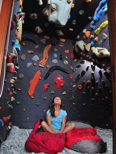Building a climbing wall can be a pleasant and satisfying experience. To begin with, have a look around the possible places you can place your climbing wall. Since you may see, building your own ro… Rock Climbing Training, Rock Climbing Workout, Rock Climbing Gear, Indoor Bouldering, Bouldering Wall, Home Climbing Wall, Indoor Climbing, Boulder Climbing, Cool Beds For Kids