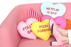 DIY Conversation Heart Pillows: 17 DIY Pillows That Are Too Cool to Be a Square via Brit + Co