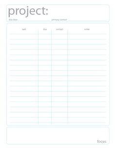 Ask Jacqueline: Free Project Planning Printable