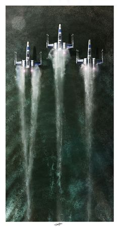 X-Wing Fighters skim the surface of a lake in 'Star Wars VII: The Force Awakens.' #starwars #geek #modernistablog