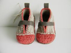 With soft sturdy leather soles, this crochet booties are perfect first-walking house shoes.