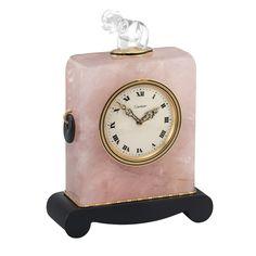 Rose Quartz, Black Onyx, Carved Rock Crystal, Black Enamel and Gold Desk Clock, Cartier Art Nouveau, Gold Desk, Quartz Rose, Clear Quartz, Black Enamel, Black Onyx, Vintage Pocket Watch, Desk Clock, Cushion Cut Diamonds