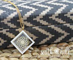 South Hill Designs - Gold Tone Diamond Locket with white enamel with South Hill Designs Flower Screen