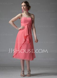Bridesmaid Dresses - $91.99 - Fascinating A-Line/Princess Sweetheart Tea-Length Chiffon Bridesmaid Dress with Ruffle (007001841) jjshouse.com