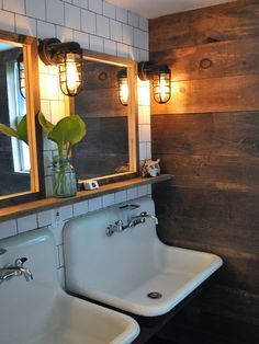 Great sinks, plus I love the combo of sleek white + rustic wood
