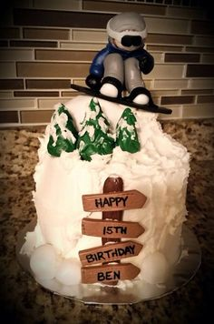 Snowboarder Cake 40th Cake, Adult Birthday Cakes, Holiday Pies, Christmas Food Gifts, Cupcake Gift, Cupcake Cakes, Cupcakes, Beautiful Cakes, Amazing Cakes