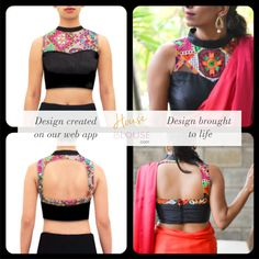 Design to reality- A pretty sheer blouse with embroidered threadwork yoke. Design you own now on houseofblouse.com #saree #blouse #sareeblouse #blousedesigns #desi #indianfashion #india #sweetheartneck #sexyback