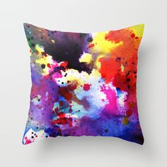 #Watercolor #splatter Throw Pillow by Miss L In Art | Society6