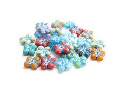 6 x 14x13mm Bright Puffy Flower Czech Glass Beads by Snoochy