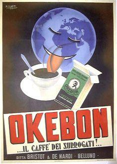 "TARGA VINTAGE ""1937 OKEBON IL CAFFE' DEI SURROGATI""PUBBLICITA',ADVERTISING PLATE"