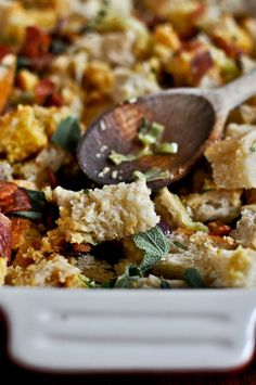 double bread stuffing with brown butter bacon and sage