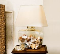 DIY keepsake lamp: Clear counter space and create keepsake items in one move! Transparent glass lamp bases and boxes are great for making a statement memory item with those small items that usually live in a drawer or clutter up a side table.