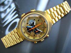 1970`s Omega Flightmaster (solid gold 200g bracelet) One of 200 made.