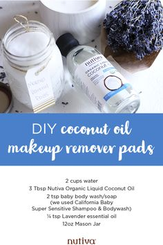 Use these DIY Coconut Oil Makeup Remover Pads to remove your makeup without adding any extra fillers or chemicals to your skin care routine. Liquid Coconut Oil, Best Coconut Oil, Coconut Oil For Face, Coconut Oil Uses, Fractionated Coconut Oil, Organic Coconut Oil, Diy Makeup Remover Coconut Oil, Makeup Remover Wipes
