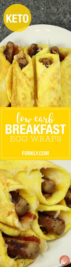 Low Carb Breakfast Egg Wraps : The high fat keto / ketogenic recipe that will have your breakfasts perfectly planned for a week. Freezer friendly! #LOWFATDIETS
