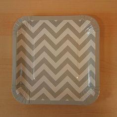 Chevron Gray Square Paper Plate, 7'' | 8 ct