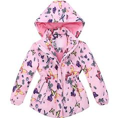 Mingao Little Girls' Butterfly Thicken Cotton Windbreak Raincoat 2-8 Years >>> For more information, visit