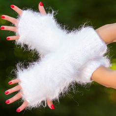 WHITE hand knitted mohair gloves fluffy fingerless hand warmers by SUPERTANYA