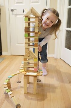 Tegu- Magnetic Blocks. Blocks available in tinted and solid colors. The magnets are safely enclosed within the wooden blocks, and allow for extended imaginative play building sturdy structures and introducing polarity and complexity to designs.