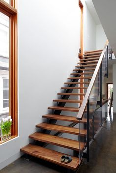 Elegant Wooden Decoration Combined with White Color Decoration: Fancy Wooden Staircase Design At The Hewitt Avenue House Hallway Show The Wo. Wooden Staircase Design, Wood Staircase, Wooden Stairs, Modern Staircase, Stair Design, Staircase Decoration, Staircase Ideas, Minimalist House Design, Minimalist Home