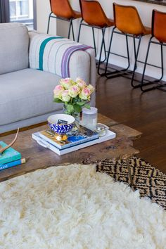 layered rugs and natural textures