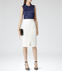 Womens Lux Navy Sleeveless Collared Top - Reiss Aliso