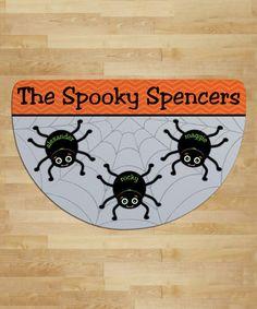 Spider Web Personalized Three-Name Round Indoor/Outdoor Doormat