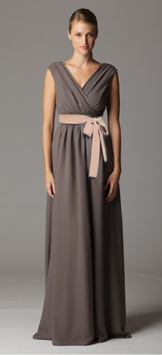 Gathered sleeveless surplice bridesmaid dress with built in waistband. Complementry dress for Kate....by Aria