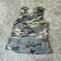 Camo cut off tank with jewels Very cute cut off tank with jewels at the top (see pic) from Rue 21 Rue 21 Tops Tank Tops