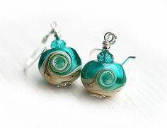 Beach Earrings  ocean teal lampwork beads on by MayaHoneyJewelry