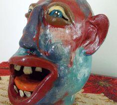 Southern Pottery face Jug  Folk Art ... Signed