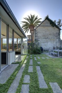 Contemporary Landscape by Sam Crawford Architects - Concrete sleepers Landscape Plans, Landscape Design, Garden Design, Garden Paving, Garden Paths, Concrete Sleepers, Contemporary Landscape, Backyard Landscaping, Landscaping Ideas
