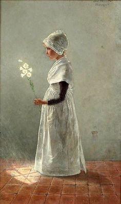 girl in white holding white flowers, Theodor Grust (1859 – 1919, German)