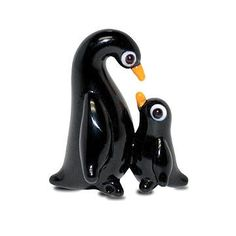 """Penguin Mom & Chick is our cool mini penguin galss figurine that's part of the Tynies Collection. This mom and baby are so small (2/3"""" tall) and adorable you'll be amazed that something this small and"""
