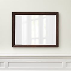 """$300  Morris Chocolate Brown Rectangular Wall Mirror - reclaimed pine w/ chocolate brown stain made to look rustic + reclaimed - does it?  Width: 42"""" Depth: 1.5"""" Height: 32"""""""