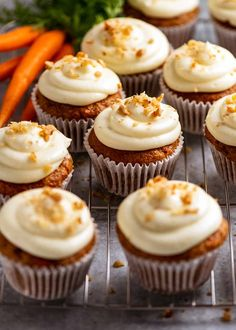 Carrot Cake Cupcakes with Cream Cheese Frosting on a rack, ready to be served Carrot Cake Cupcakes, Cupcake Cakes, Carrot Cupcake Recipe, Carrot Cake Muffins, Cupcake Icing Recipes, Unique Cupcake Recipes, Best Cupcake Recipe Ever, Best Cupcakes, Gourmet Cupcake Recipes