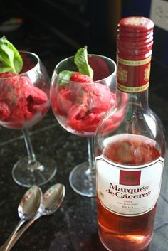Raspberry Rosé Sorbet (with Marques de #Caceres Rosé)