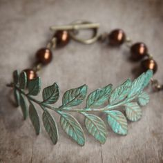 patina sprig with chocolate pearls bracelet
