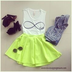 Neon and white outfit | neon skater skirt and denim vest | neon skater skirt outfit | #neon #outfit #style